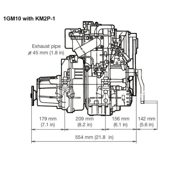 9,1 hp/6,7 kW Yanmar 1GM10 KM2P 2.62:1