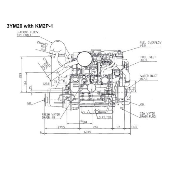 21 hp/15,4 kW Yanmar 3YM20, KM2P 2.62:1