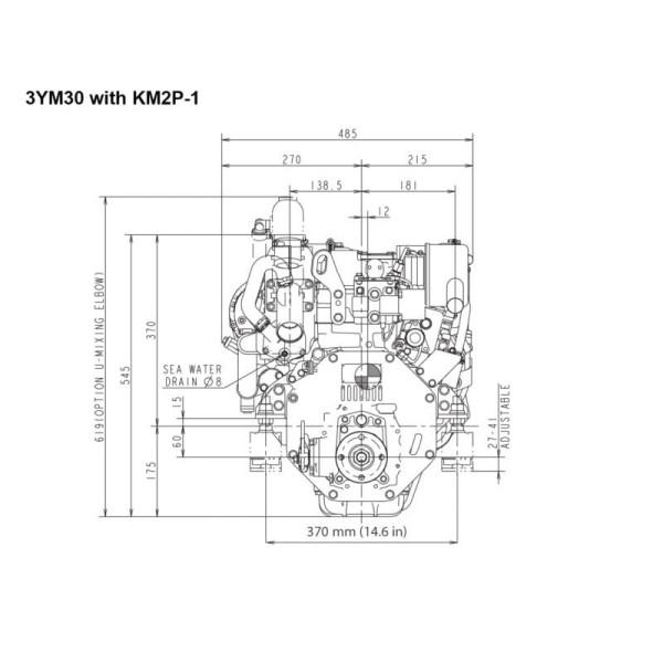 29 hp/21,3 kW Yanmar 3YM30, KM2P 2.62:1