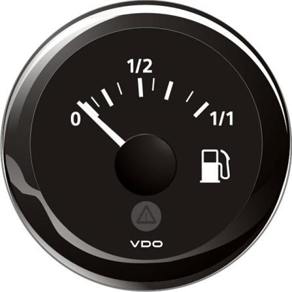 Polttoainemittari (musta) vipuanturille. Ø52 mm