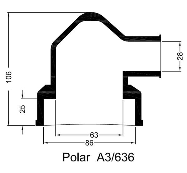 Lämmönvaihtimen kumipääty A3/636