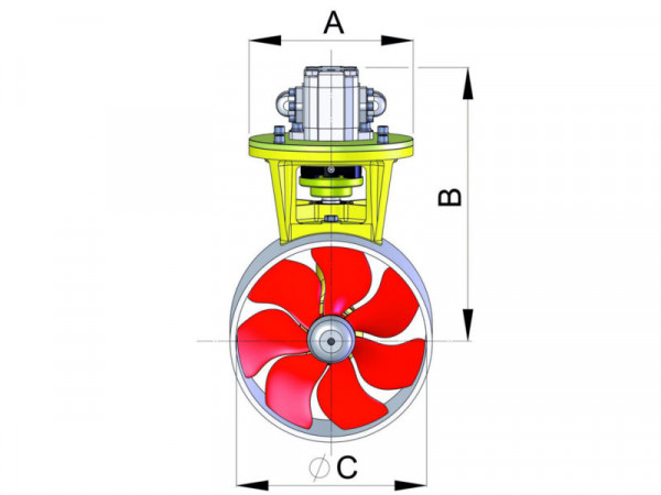 Hydraulinen keulapotkuri 95 Kgf Ø185 mm
