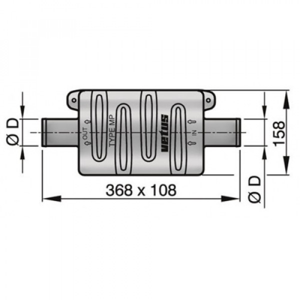 Äänenvaimennin MP45 Ø 45 mm