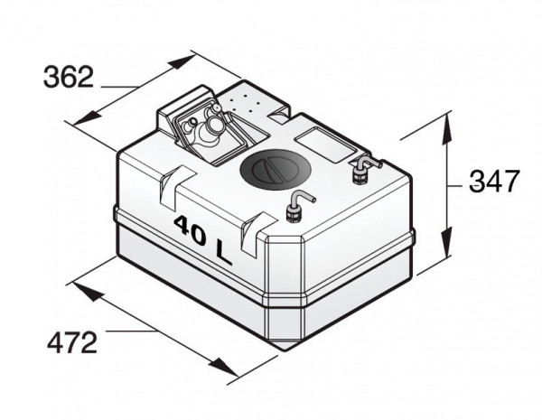 Polttoainetankki 40 l, sisältää liittimet 10 mm:n