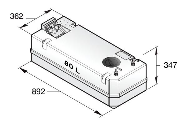 Polttoainetankki 80 l, sisältää liittimet 8 mm:n p