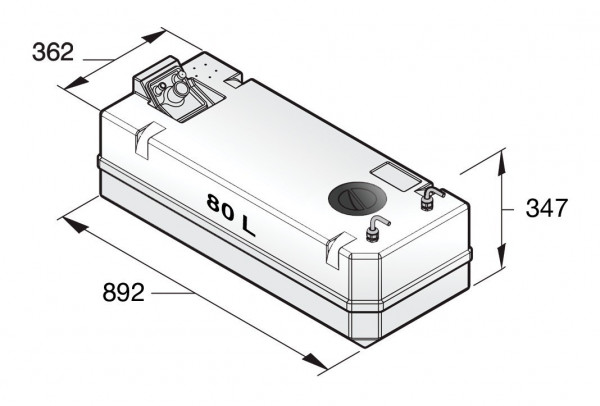 Polttoainetankki 80 l, sisältää liittimet 10 mm:n