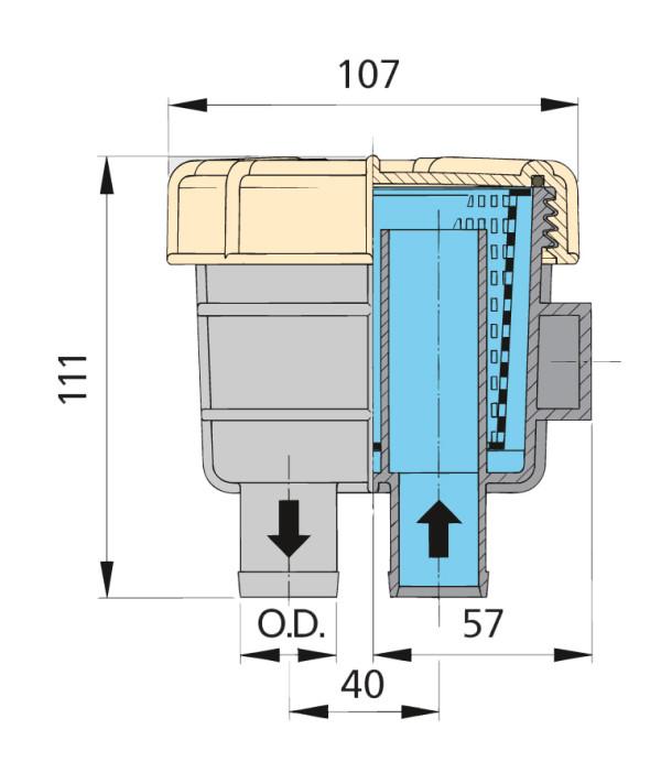 Raakavesisuodatin FTR140, letkuliitännät Ø 19 mm