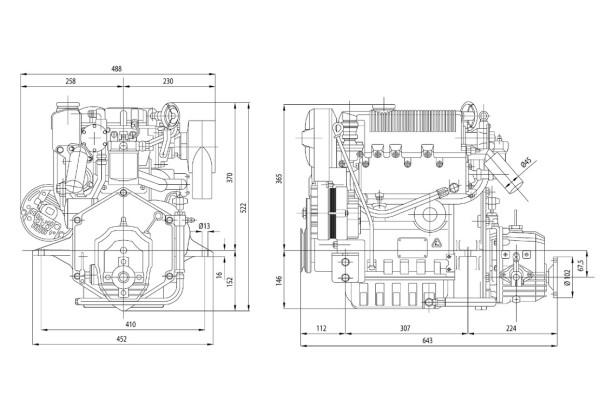 27 hp/19,5 kW Lombardini moottori TMC40 2.0:1 LDW1003M