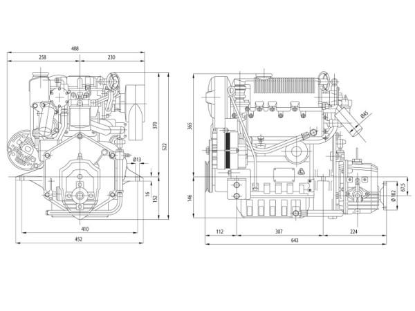 27 hp/19,5 kW Lombardini moottori TMC40 2.6:1