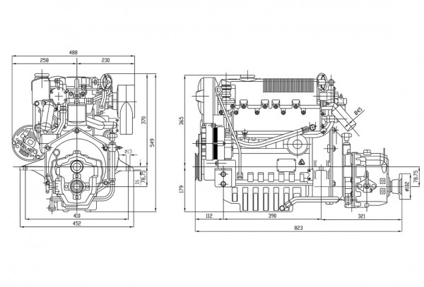 35 hp/25,5 kW Lombardini 2.0:1 merimoottori LDW1404M