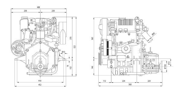 11 hp/8,1 kW Lombardini moottori TMC40 2.6:1 LDW502M