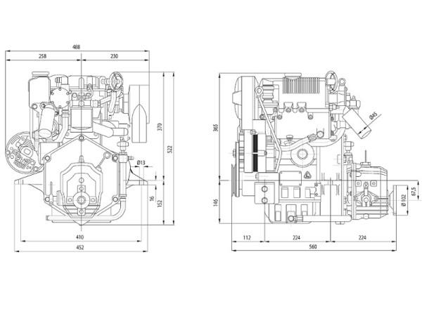 18 hp/13,2 kW Lombardini moottori TMC40 2.6:1 LDW702M