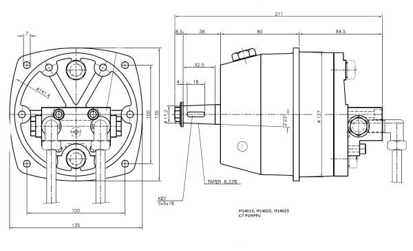 C7/37 ohjauspumppu, tuotto 37 cm3/ kierros