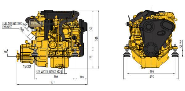 12 hp Vetus M2.13 merimoottori 2.0:1