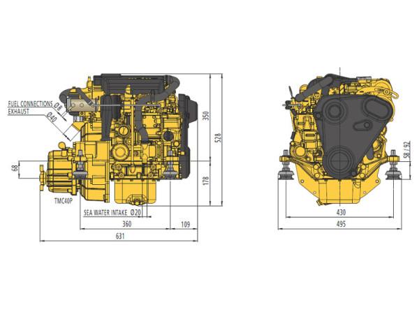 12 hp Vetus M2.13 merimoottori 2.6:1