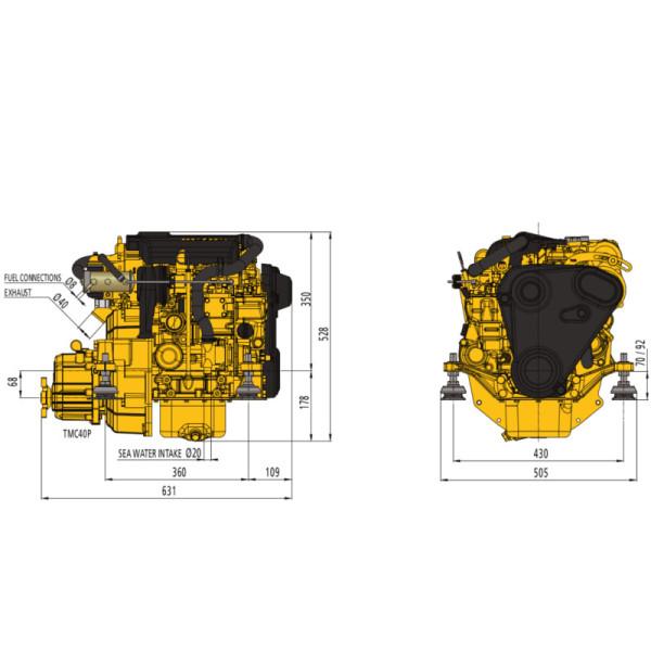 16 hp Vetus M2.18 merimoottori 2.6:1