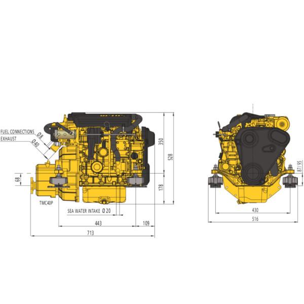 27 hp Vetus M3.29 merimoottori 2.6:1
