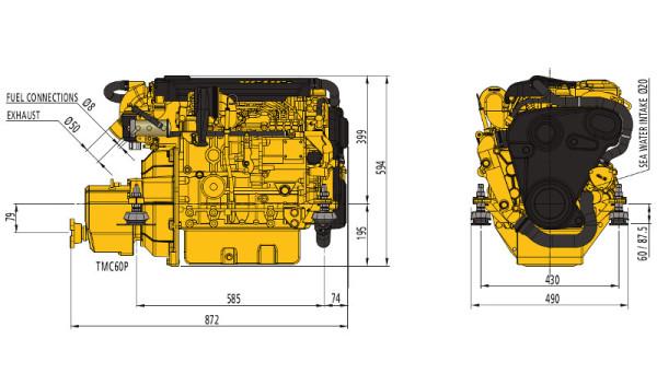 42 hp Vetus M4.45 merimoottori 2.0:1