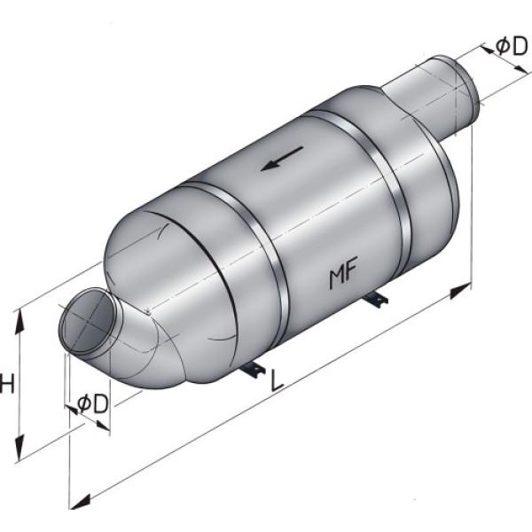 Äänenvaimennin MF090 Ø 90 mm