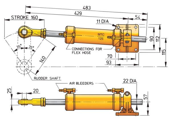 Ohjaussylinteri Vetus MTC125 10 mm:n putkelle