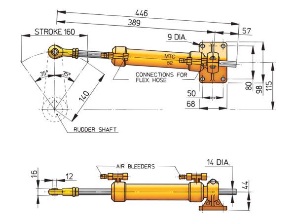 Ohjaussylinteri Vetus MTC52 - 10 mm:n putkelle