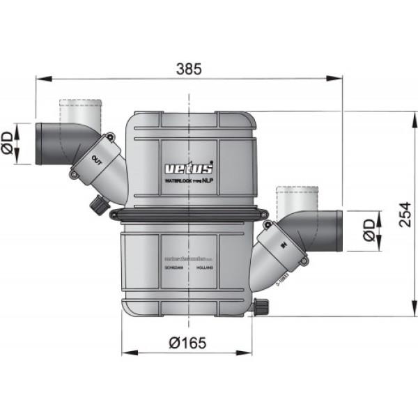 Vesilukko NLP50 Ø 50 mm (2), pyörivä liitäntä sisä