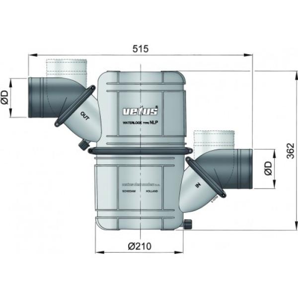 Vesilukko NLP60 Ø 60 mm (2 3/8), pyörivä liitäntä