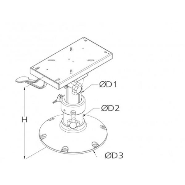 Istuinjalka korkeussäädöllä ja liukulevyllä 350-470 mm