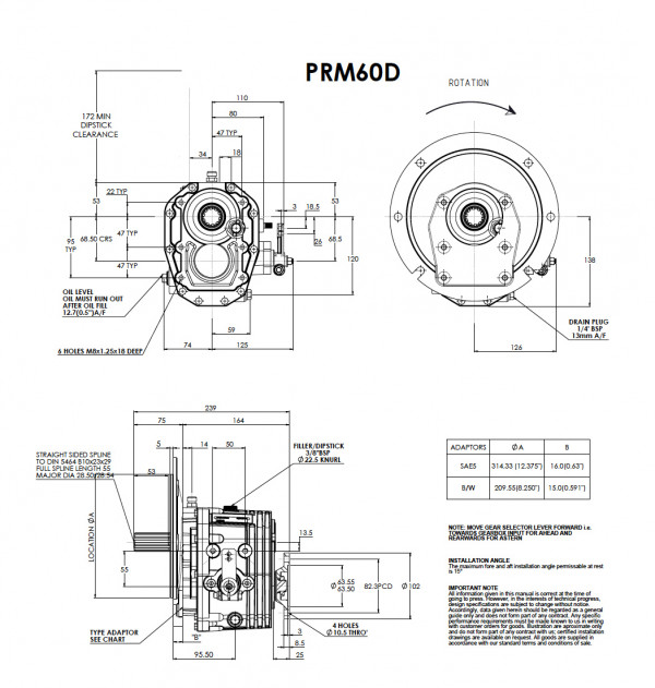 PRM 60D merivaihde välitys 1,52:1
