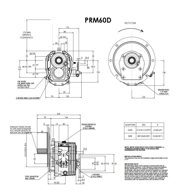 PRM 60D merivaihde välitys 2,50:1
