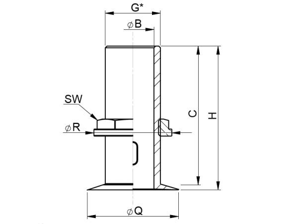 R11/2 RST läpivienti ohuella laipalla Vetus