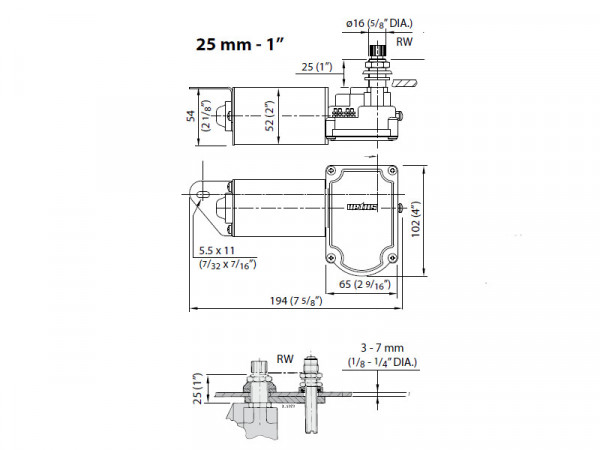 Tuulilasinpyyhkijän moottori 12V Vetus