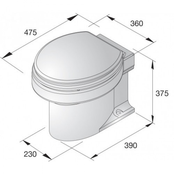 TMW WC-istuin, 12 V (ei sis. kytkintä)