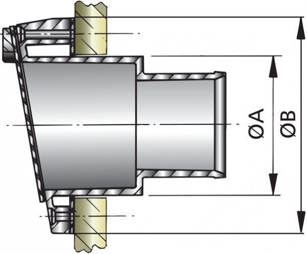 Pakoletkun läpivienti, Ø 40 mm, läpällä