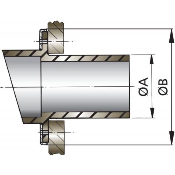 Pakoletkun läpivienti, Ø 45 mm, kumi