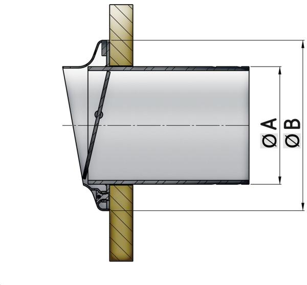 Ø90 Pakoletkun läpivienti läpällä, ruostumaton teräs