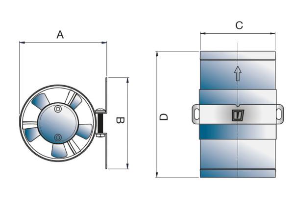 Kanavapuhallin 12V, d=102 mm